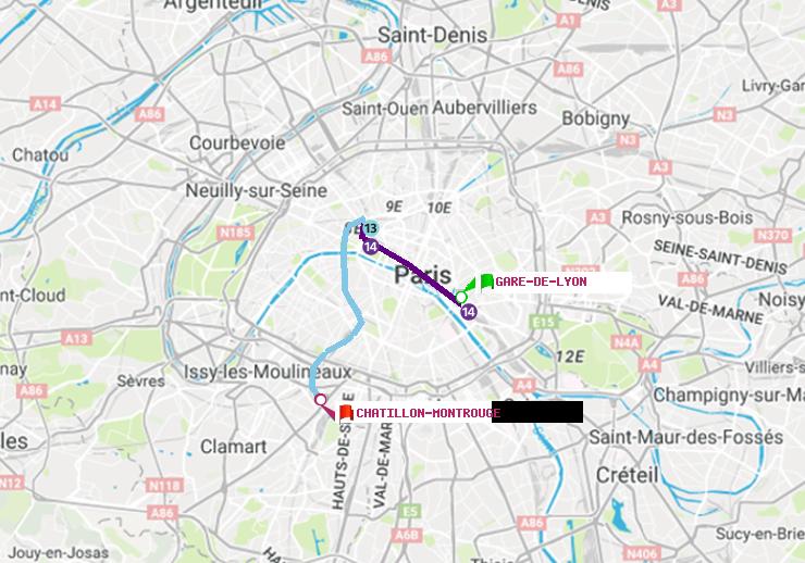 M 233 Tro Paris Itin 233 Raire De Gare De Lyon 224 Ch 226 Tillon Montrouge